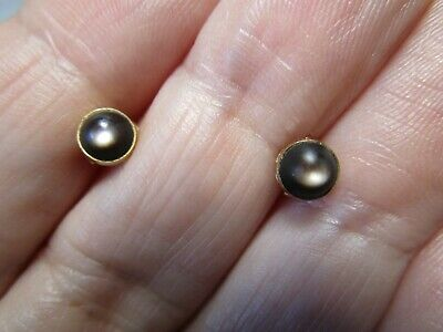 Gorgeous Estate Antique 14K Solid Gold Genuine Tiger's Eye Stud Earrings Nos