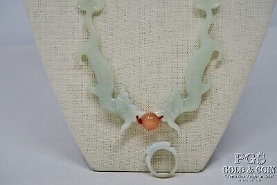 Vintage Antique Jade Carved Dragons Beaded Statement Necklace & Ring 18611