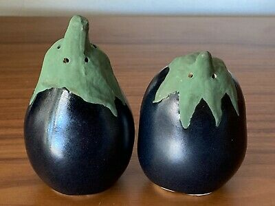 Patricia Garrett Pottery Great Impressions Eggplant Salt & Pepper Shakers