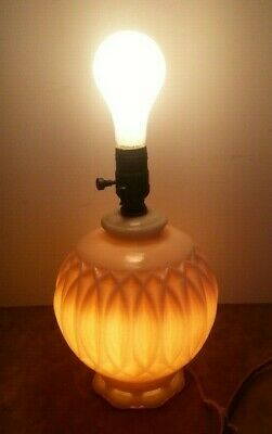 "Vintage Pink Alacite Glass Aladdin 7"" Ball Electric Table Parlor Lamp Light"