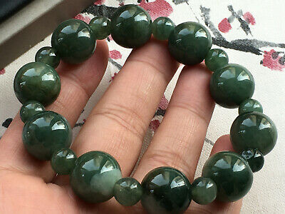 Certified natural oil green A grade jade Jadeite 14mm beads elastic bracele 2891