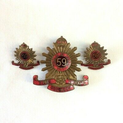 WWII 1930-42 59th Bn Enamel & Brass Hat & PairCollar Badges 'The Hume Regiment'
