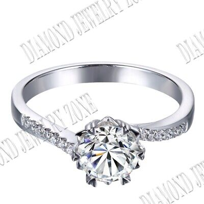 Special Round Cut 6.5mm 1ct Flawless Cubic Zirconia Wedding Sterling Silver Ring