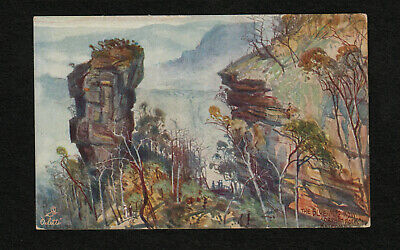 s2374)  BEAUTIFUL VINTAGE TUCK ART CARD OF THE BLUE MOUNTAINS, N.S.W. AUSTRALIA