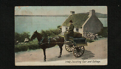 "s2400)       POSTCARD IRELAND FROM 1903 "" IRISH JAUNTING CAR AND COTTAGE """