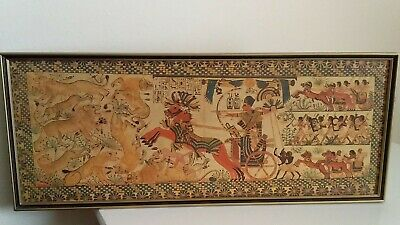 VINTAGE EGYPTIAN PICTURE KING Tutankhamun HUNTING IN HIS CHARIOT FRAMED.