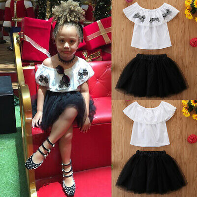 2PCS/SET Baby Girls Party Summer Outfits Bowknot Tops+Tutu Skirt Outfits Toddler