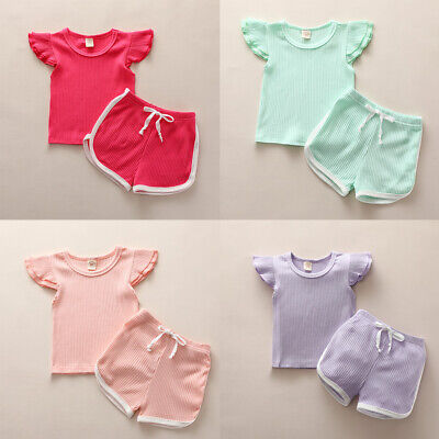 Summer Baby Girl Boy Clothes Fly Sleeve Tops + Shorts Pants Toddler Kids Outfits