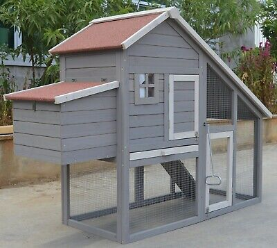 Grey Large Chicken Coop Rabbit Hutch Ferret Cage Hen Chook House
