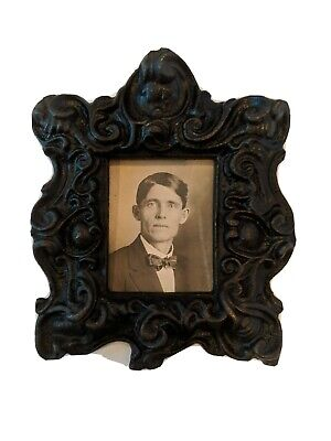 """Antique Black CAST IRON Picture Frame Victorian 5.25"""" x 4.5"""" with wire hanger"""