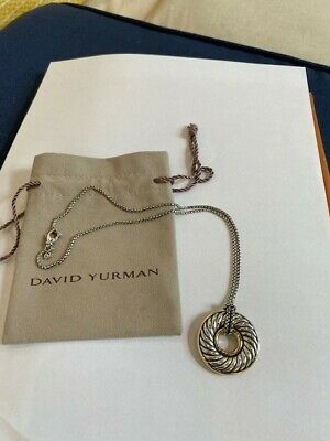 Authentic David Yurman Sterling Silver Cable Disc Pendant Necklace