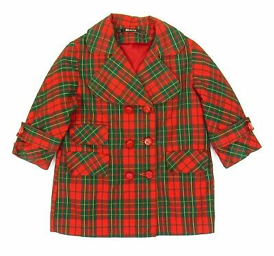 "Girls Vintage Coat Jacket 1960s Size 3 Red Green Plaid Double Breast 29"" Chest"