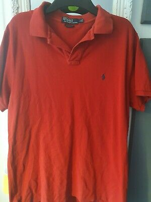 Mens Ralph Lauren Polo Custom Fit Short Sleeved Bright Red Polo Shirt Large Lg