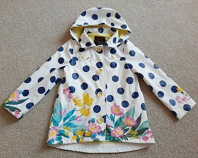 Catamini Girls Raincoat White/Blue Spotty Floral Age 5 Years Designer