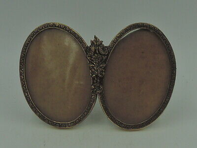 """Vintage French Gilt Ormolu Brass Double Photo Frame Picture 2 1/2"""" x 1 3/4"""""""