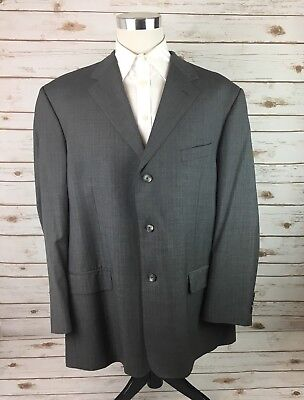 Pavone Mens Suit Coat Worsted Wool 46R Gray Pinstripe Made In Italy Dual Vent