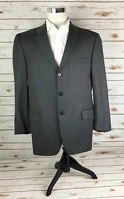Joseph Abboud Suit Coat Mens 42R Wool Gray Pinstripe Not Vented 3 Button