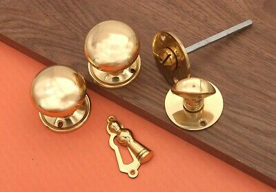Cottage Round Rim/Mortice Door Knob 50MM with Escutcheons/Privacy Polished Brass