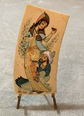 Antique Hand Painted Asian Man & Woman Signed Persian Painting Unique On Bison