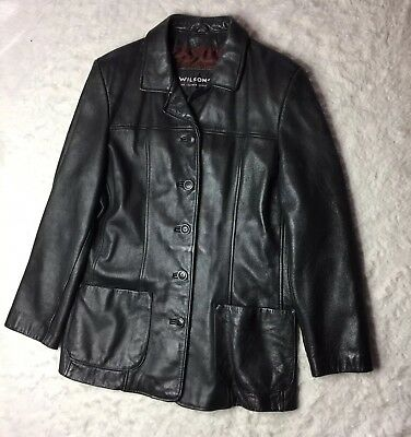 Wilsons Leather Jacket Womens Size Extra Large XL Button Down Black N8