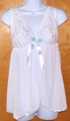 New Womens size Large Babydoll with Thong White Passion Forever