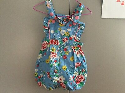 Rock Your Baby Kid Blue Floral Romper Size 2
