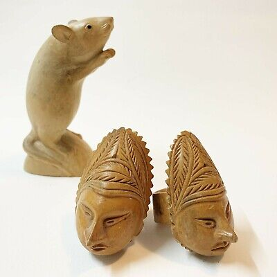 2 x Papuan Carved Wood Napkin Rings Holders - PNG Face Mask Motif