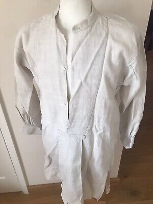 Antique Heavy linen Shirt French Late 19th Century Re-enactment