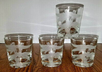 4 Frosted Etched BAMBOO LOWBALL tumblers old fashioned coctail glasses