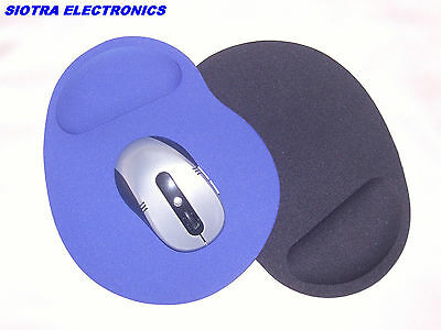 TWO Anti-Slip Mouse Mats in Black and Blue with Foam Wrist Support - YES TWO !!!