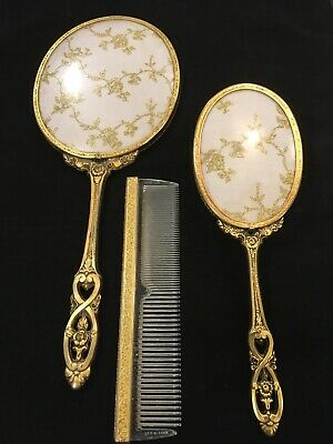 Brass Filigree Comb Hair Brush & Hand Mirror Vanity Set with Embroidery