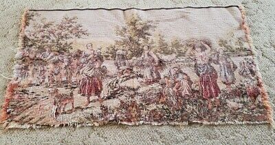 """Vtg Antique Belgium Germany Peasants Workers Tapestry Wall Hanging  34"""" X 18"""""""