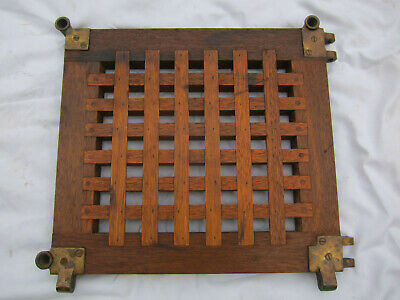 Antique Nautical Ship's Hatch Cover Teak Grate with Bronze Hardware.