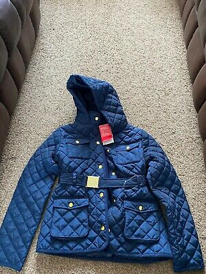 New M&S Girls Quilted Navy Coat Hood Gold Belt Jacket 11-12 Years Hooded Bnwt
