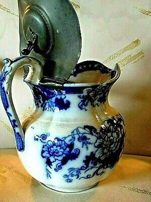 19th C > Pewter Lidded, Large Flow-Blue w/Vertical Indention's Handled Pitcher