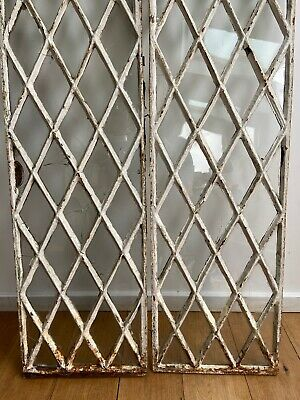 Pair of Victorian 19th Century Diamond Pattern Cast Iron Window *Can Deliver*