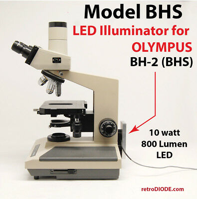 LED retrofit Kit with dimmer control for older OLYMPUS BHS microscopes.
