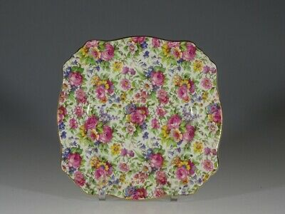 Royal Winton 'Summertime' Chintz Square Salad Plate, England c1930