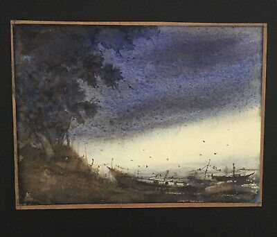 Remarkable Mystery Early 20Th Century Watercolor Boat Scene Signed 1912