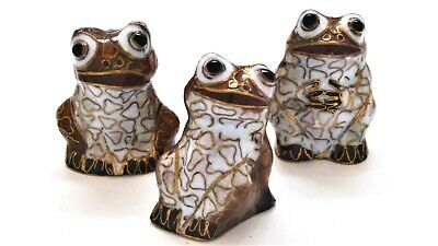 Vintage Chinese Cloisonne 3pcs Happy Frogs. Hand Made 1.50 inch Tall
