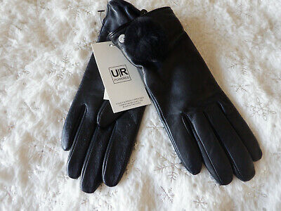 UGG Shearling Pom Pom Leather Black Gloves S New With Tags