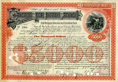 1893 Chicago Rock Island Pacific RW $5000 Bond Certificate