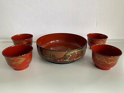 VTG Set Of 5 Japanese  Gold Gilt Floral Pattern Red Lacquer Rice Bowls.