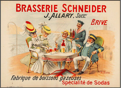 Brasserie Schnieder Original Vintage French Advertising Poster 1900