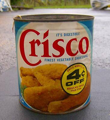 vintage 1960s CRISCO can FOOD PACKAGING tin IT'S DIGESTIBLE retro graphics OLD