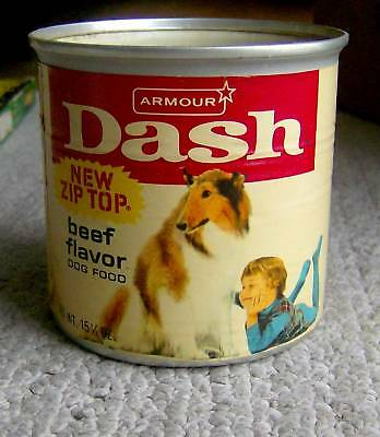 RARE vintage 1960s Armour DASH dog food COLLE & KID graphics pet packaging RETRO