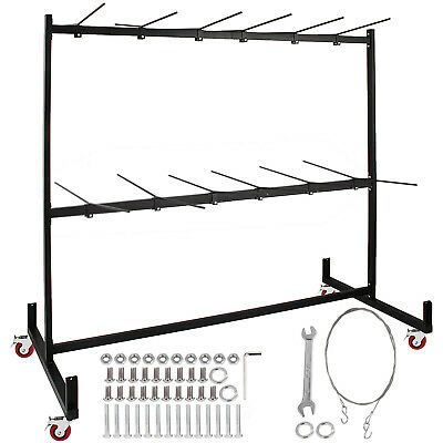 Two-Tier Folding Chair Rack Dolly Cart W/Locking Wheels Max 50 Chairs 12 Tables