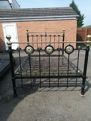 Victorian Cast Iron and Brass Double Bed , With Spring Mattress Base,...