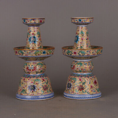 China Qing Dynasty Porcelain Colour Enamels Flowers and Plants Pair Candlestick
