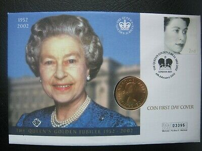 UK British 1967 Pre-decimal One Penny Coin & Stamp Cover ~ Queens Golden Jubilee